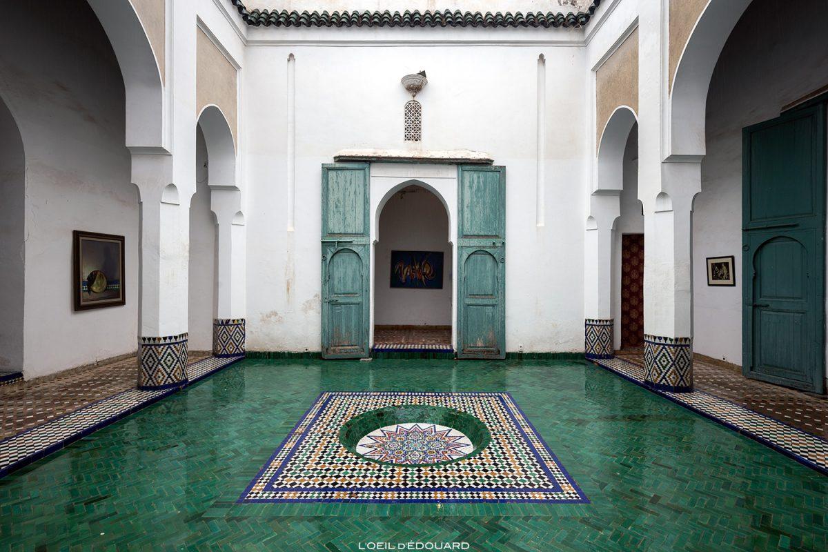 La douiria, espaço de exposição de arte marroquina contemporânea na antiga cozinha do museu de Marraquexe, Marrocos / Visita ao museu de Marraquexe, Marrocos