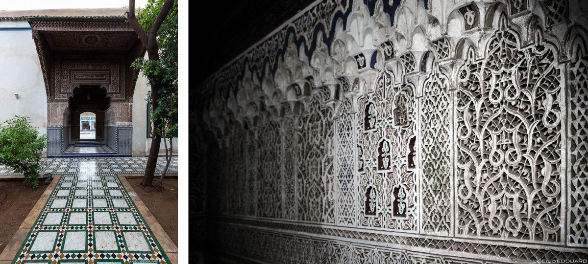 Porta e motivos esculpidos em ornamento árabe em baixo-relevo do Palácio Bahia em Marraquexe, Marrocos / Visita a Marraquexe, Marrocos