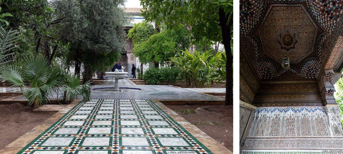 Pátio do Bahia Palace em Marrakech, Marrocos / Visita a Marrakech, Marrocos