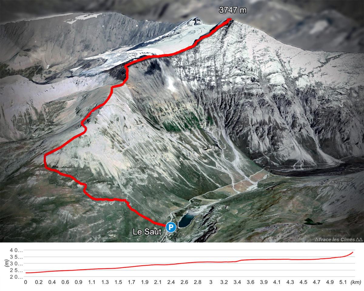 Percurso de caminhada na Aiguille de la Grande Sassière, Alpes Grées Savoie