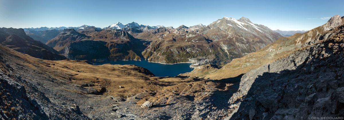Maciço de Vanoise com Lac du Chevril, Tignes, Mont Pourri de Aiguille de la Grande Sassière, Alpes Grées Savoie