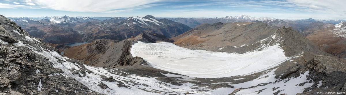 O glaciar Sassière da agulha Grande Sassière, os Alpes Grées, a montanha Savoy © L'Oeil d'Édouard - Todos os direitos reservados
