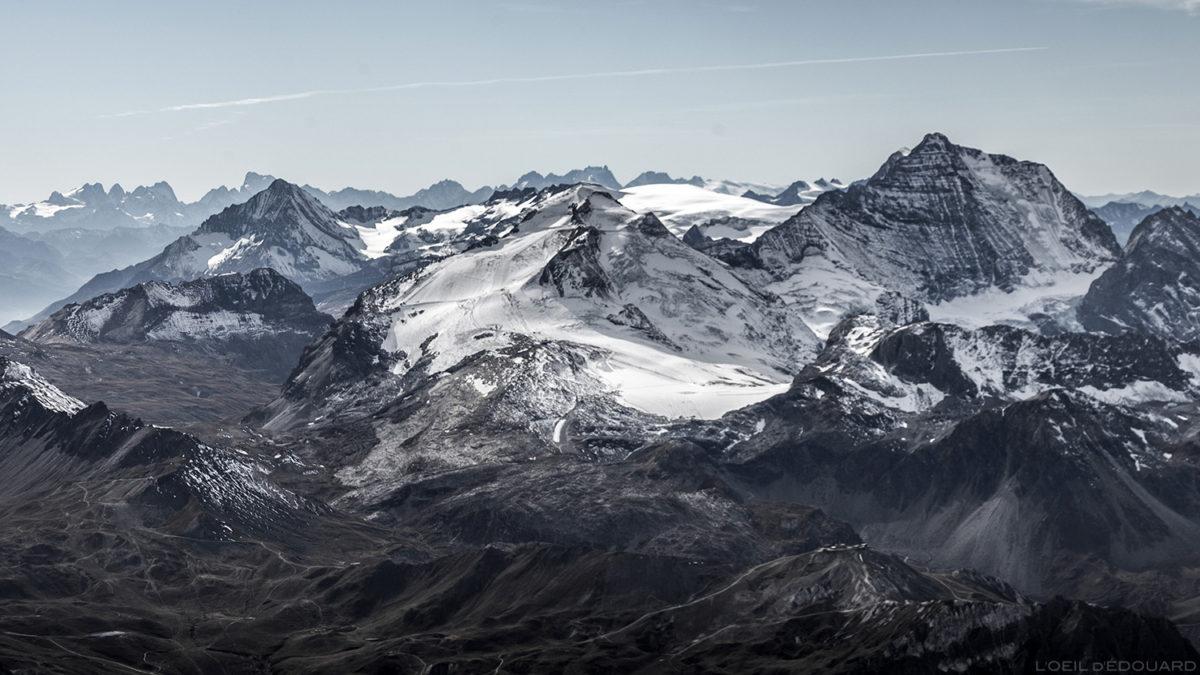 O glaciar Grande Motte e o Grande Casse, Maciço de la Vanoise, do topo da Aiguille de la Grande Sassière - Maciço de Savoie © L'Oeil d'Édouard - Todos os direitos reservados