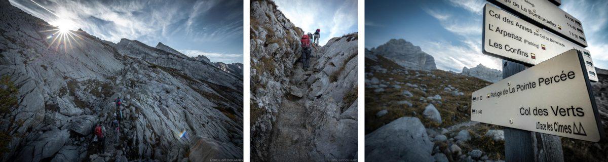 Trilha de caminhada para o Refuge de Gramusset e Pointe Percée, Aravis / Haute-Savoie, Alpes