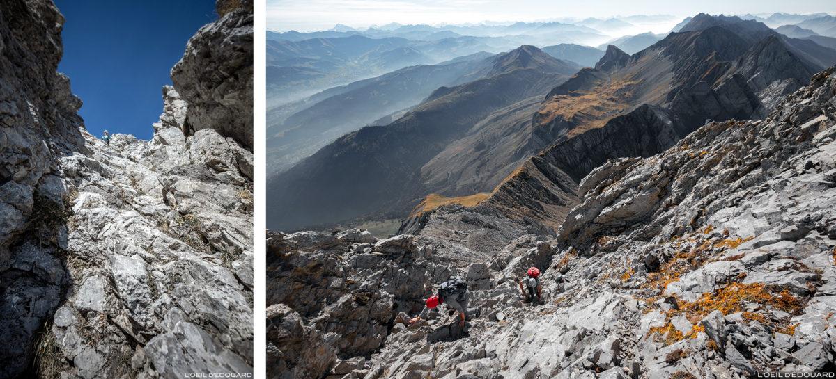 Subida do Pointe Percée desde as chaminés de Sallanches, Aravis / Haute-Savoie