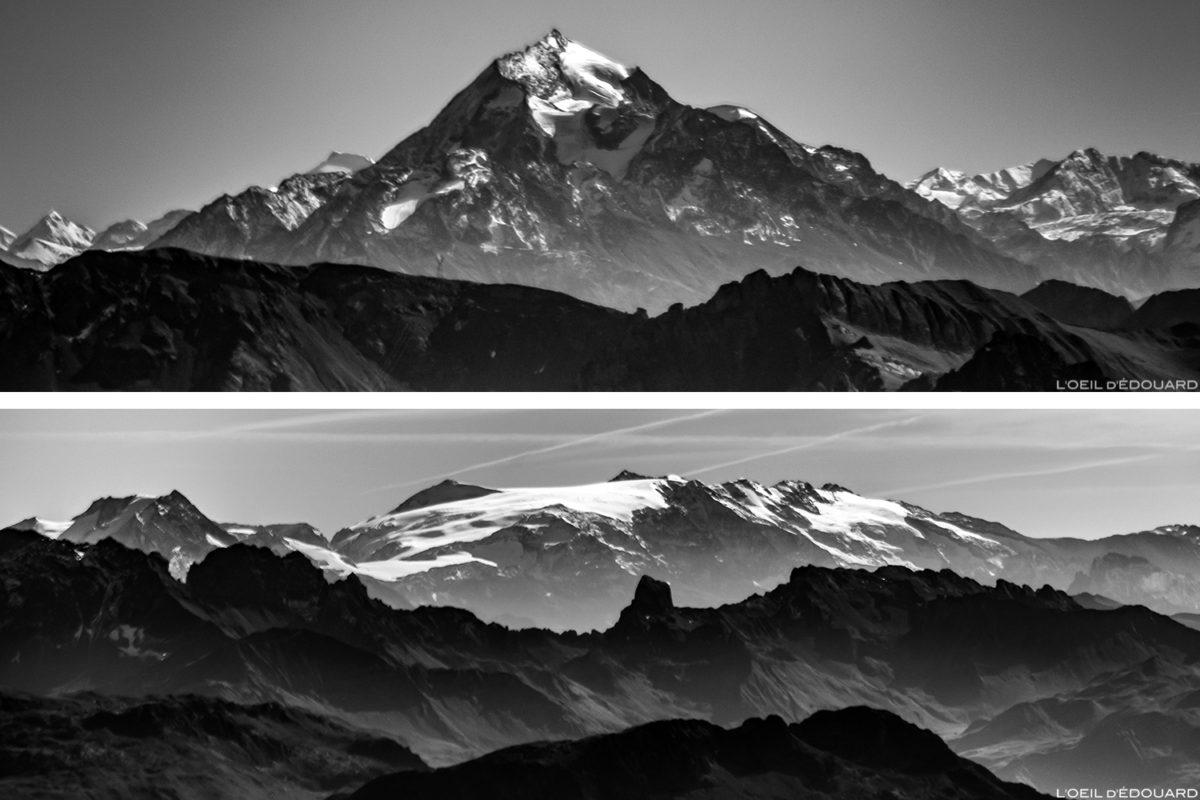 O Maciço de la Vanoise do cume de Pointe Percée, Alpes da Alta Sabóia