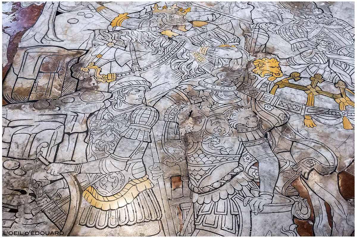 Pavimento pavimentado em mármore na Sé Catedral de Siena - Calçada Dom de Siena (Santa Maria Assunta): A Fuga de Herodes, Boas-vindas de João