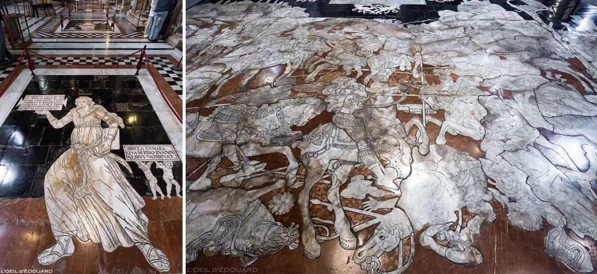 Chão de mármore na Catedral de Siena - Calçada Dom de Siena (Santa Maria Assunta): Sibilla Cimmera (Ionica), Giovanni di Stefano / A Fuga de Herodes, Boas-vindas de Giovanni