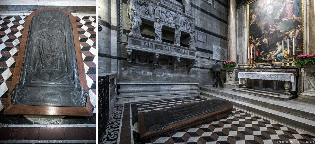 Catedral de Siena - Catedral Interior de Siena (Santa Maria Assunta): lápide do Bispo Giovanni Pecci (por volta de 1426) por Donatello + Sant'Ansano (1593-96) Francesco Vanni + monumento funerário do Cardeal Petroni, Tino di Camaino