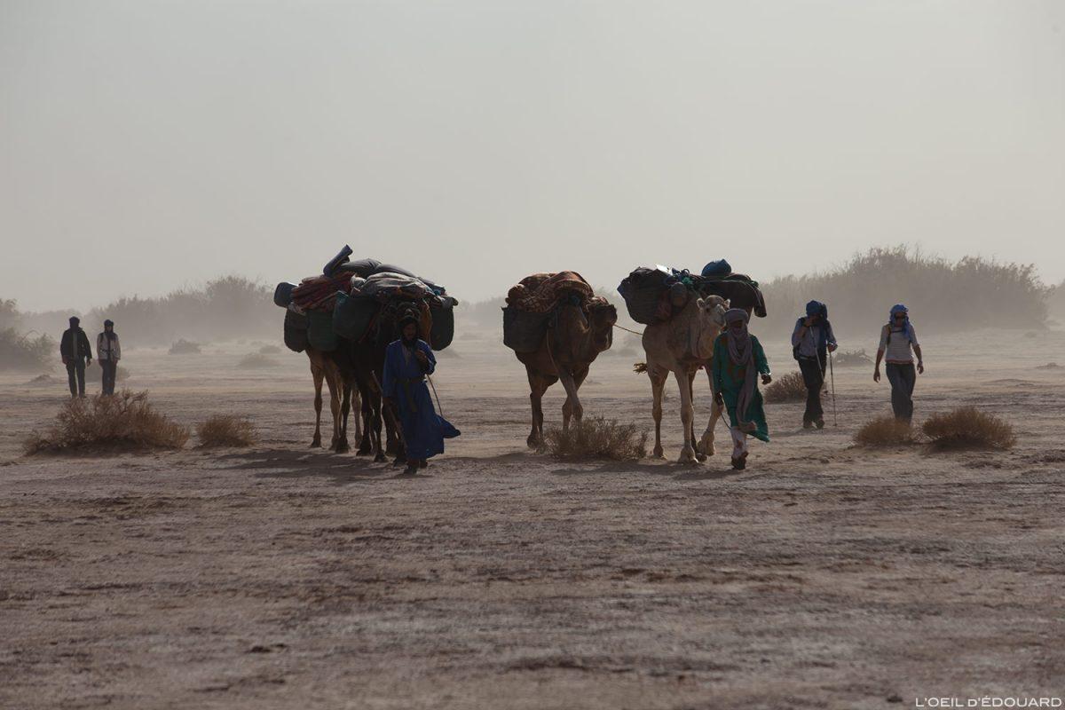 Caravana nômade durante uma tempestade de areia no deserto marroquino