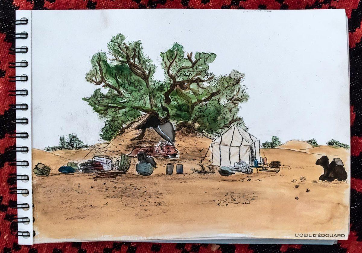 Desenho de acampamento no deserto marroquino - Desert Melody Trek © L'Oeil d'Édouard