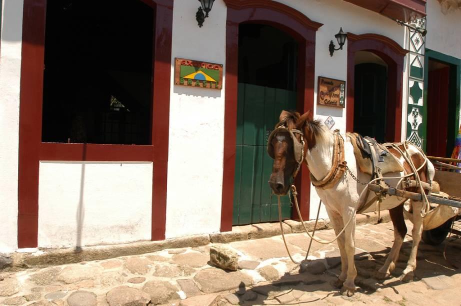 Cavalo em frente à Pousada Arte Colonial no Centro Histórico
