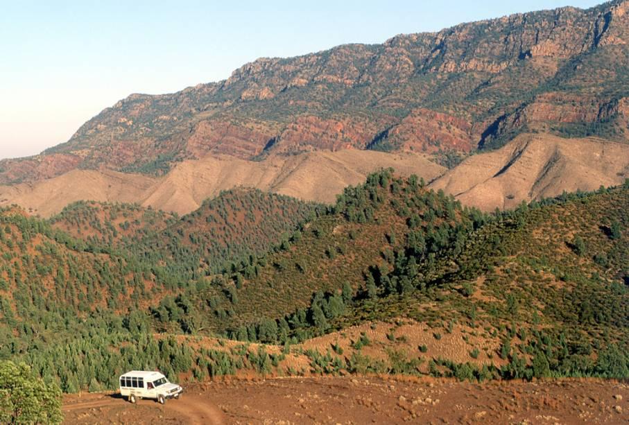 Os picos escarpados das Montanhas Flinders ficam 250 quilômetros ao norte de Adelaide.  A região é cercada por natureza selvagem e se estende até as portas do sertão.