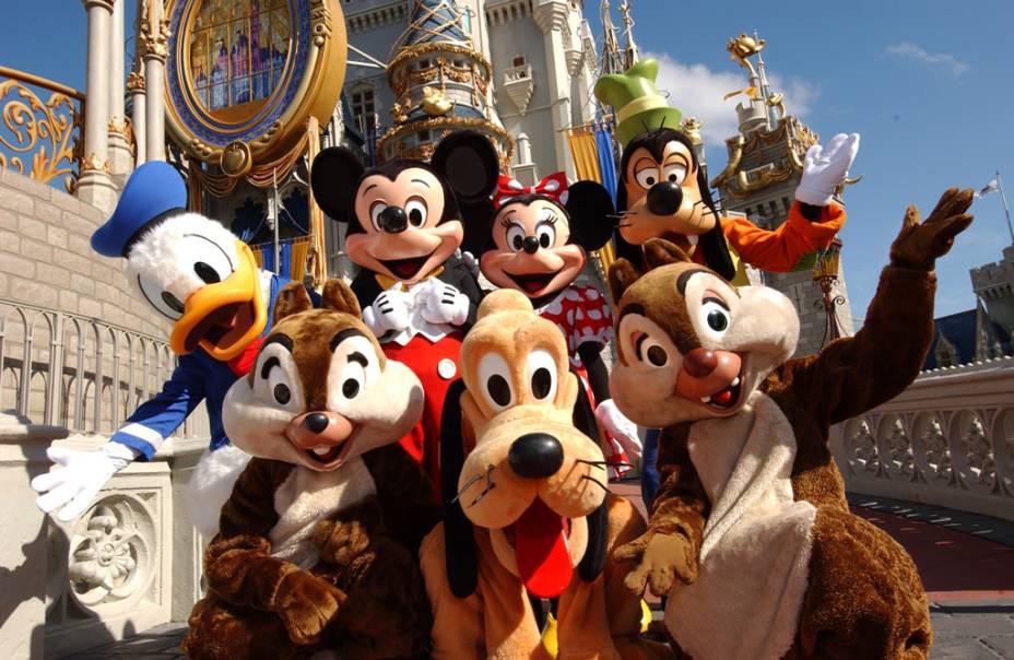 Personagens da Disney no Magic Kingdom Park, o mais antigo do complexo, inaugurado em 1971