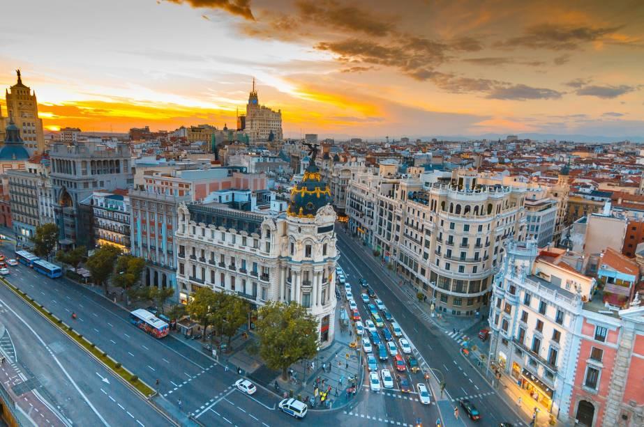 Vista aérea da Gran Vía em Madrid