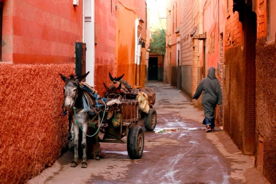 Na medina de Marrakech, o tempo parou de várias maneiras.  As ruas, cheiros, roupas e meios de transporte ainda são os mesmos que os viajantes descobriram há décadas
