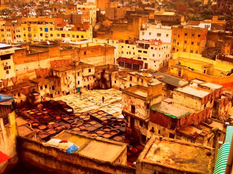 Tanques de tingimento em Marrakech