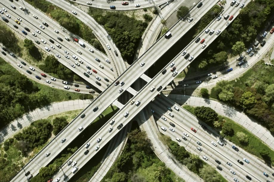 Vista aérea das rodovias de Los Angeles