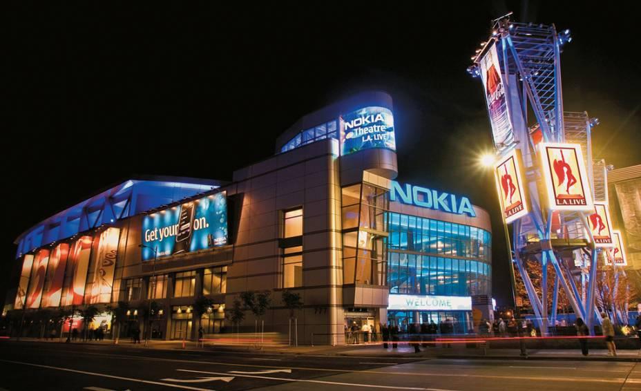 O Nokia Theatre no complexo LA Live, uma Times Square remodelada no centro da cidade