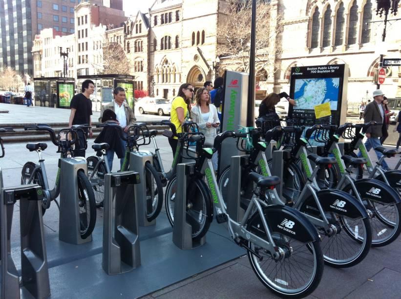 A cidade de Boston tem um enorme sistema de aluguel de bicicletas
