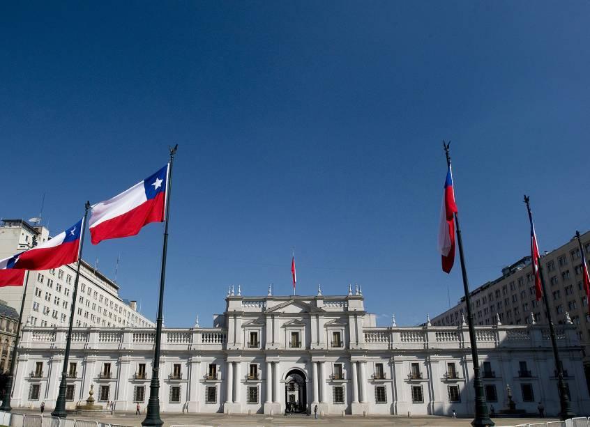 O Palacio de la Moneda em Santiago do Chile é um impressionante edifício com elementos neoclássicos que é considerado um dos monumentos históricos da cidade