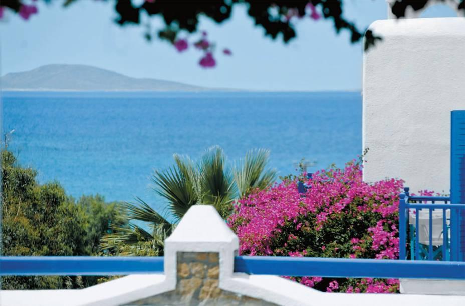 O mar em frente ao hotel San Marco em Mykonos