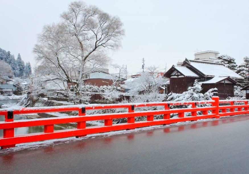 Detalhe da ponte em Takayama, região central do Japão