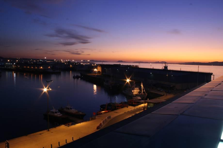 Noite no porto de Vigo
