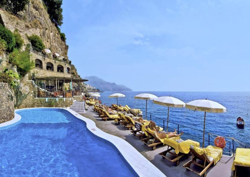 Clube de praia e piscina no Hotel Santa Caterina, Amalfi, Costa Amalfitana