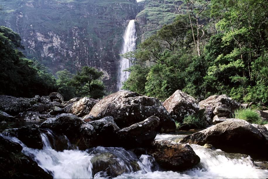 A Casca d'Anta, com 186 m de altura, é o símbolo do Parque Nacional da Serra da Canastra