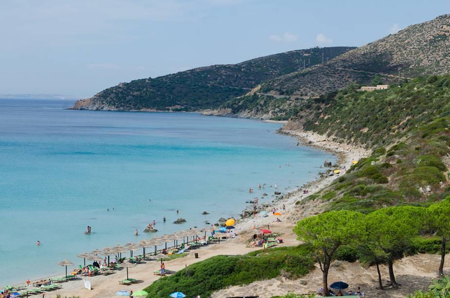 Praia na Sardenha perto de Cagliari