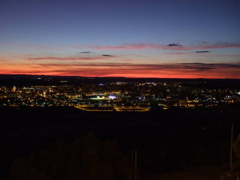 Vista panorâmica de Cáceres no final da tarde