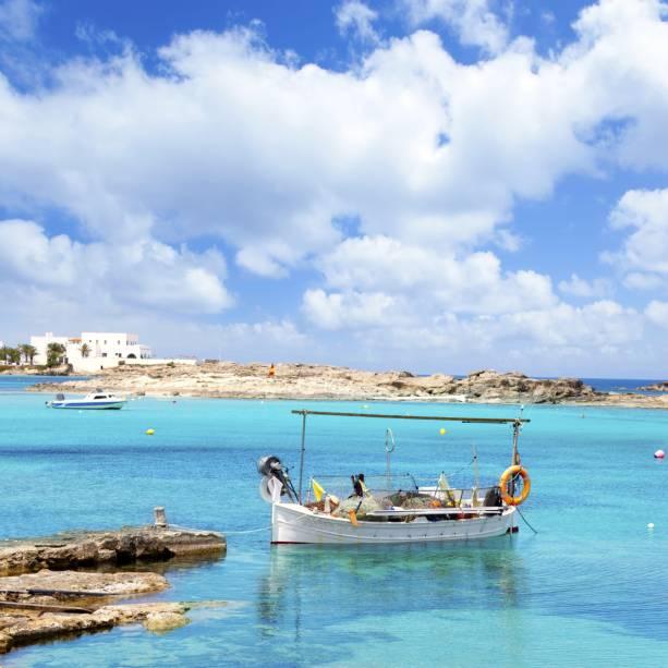 Praia Els Pujols, na ilha de Formentera
