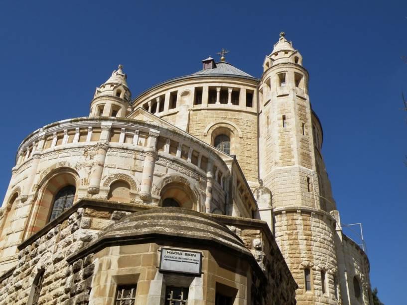 Abadia de Hagia Maria no Monte Sião, Jerusalém.  O site contém a Cripta do Sono Eterno e o Cenáculo, o alegado local da Última Ceia de Jesus e seus apóstolos