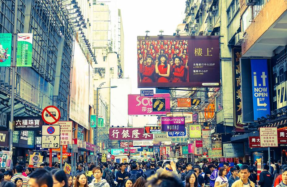 Hong Kong tem uma das maiores densidades populacionais do mundo.