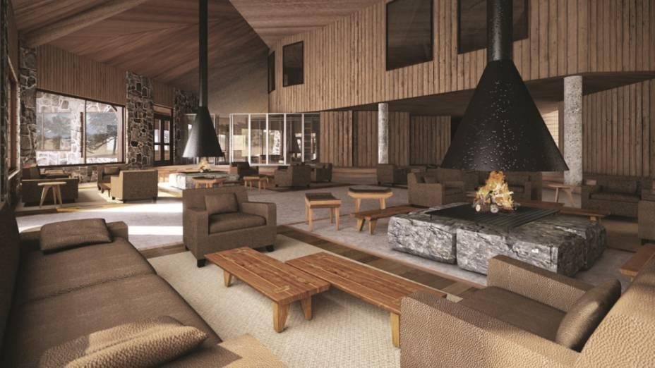 Desenho do ambiente de convivência do Valle Corralco Hotel & Spa