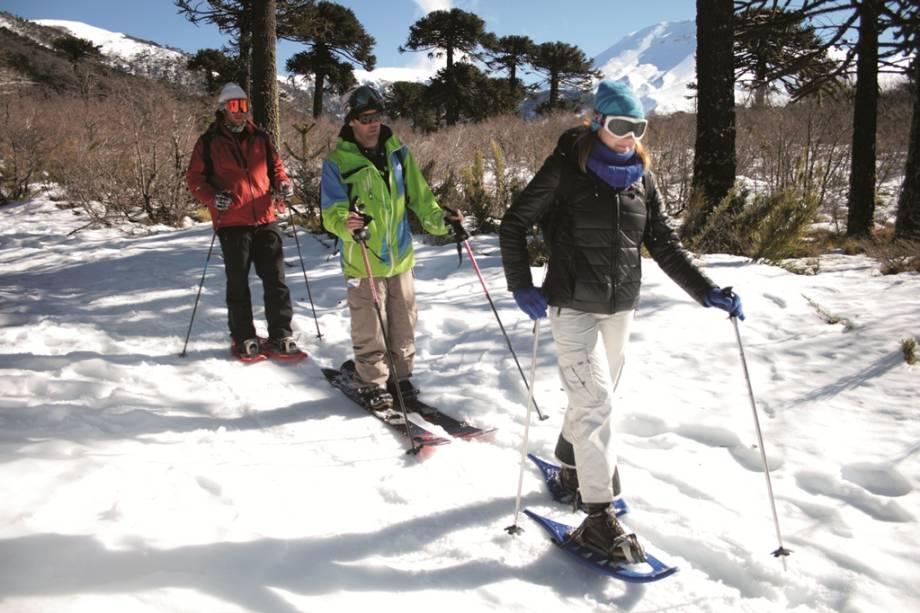 As atrações de Corralco incluem caminhadas na neve ou pistas de esqui