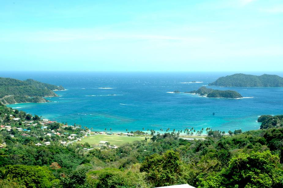 Vista de Speyside, Tobago a 16 milhas de Scarborough.