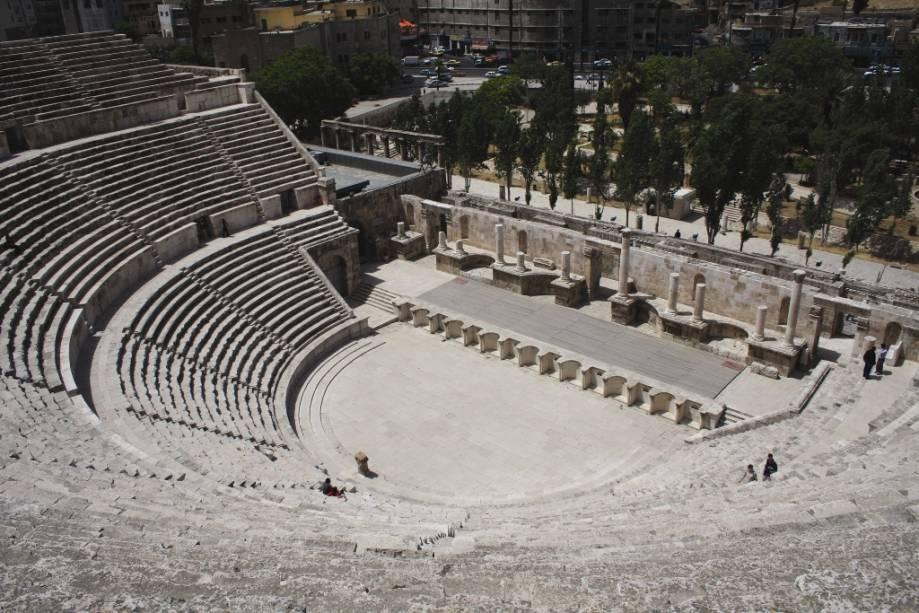 O teatro romano de Amã remonta ao século 2 dC e abrigava cerca de 6.000 pessoas
