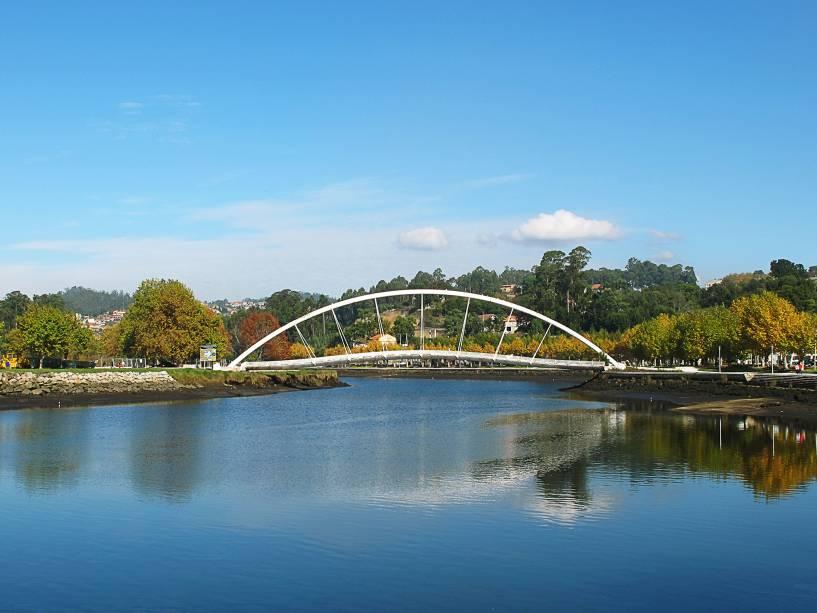 Ponte pedonal sobre o rio Lerez em Pontevedra