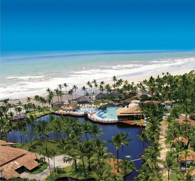 Vista do Resort Cana Brava, corte ao longo do Rio Jairi e de frente para a Praia de Canabrava