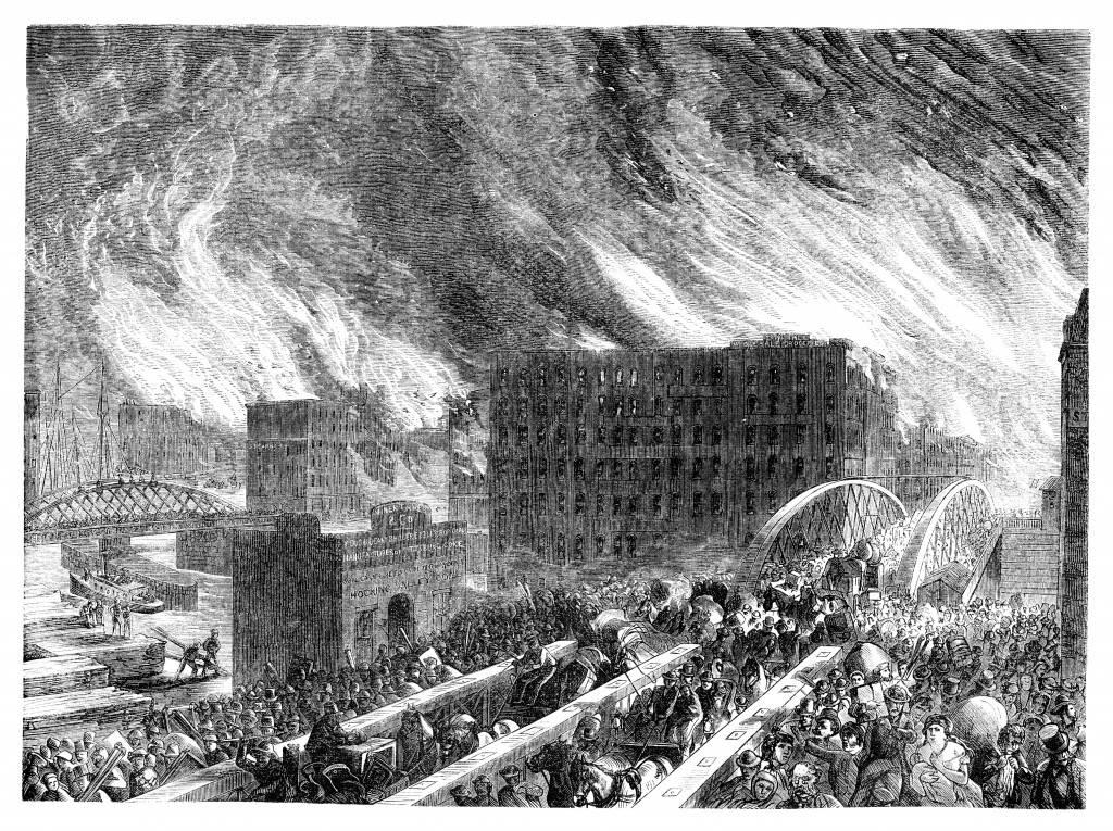 Gravura do Grande Incêndio de Chicago (Foto: iStock)