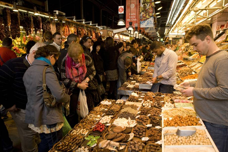 O mercado da Boqueria é o mais movimentado de Barcelona