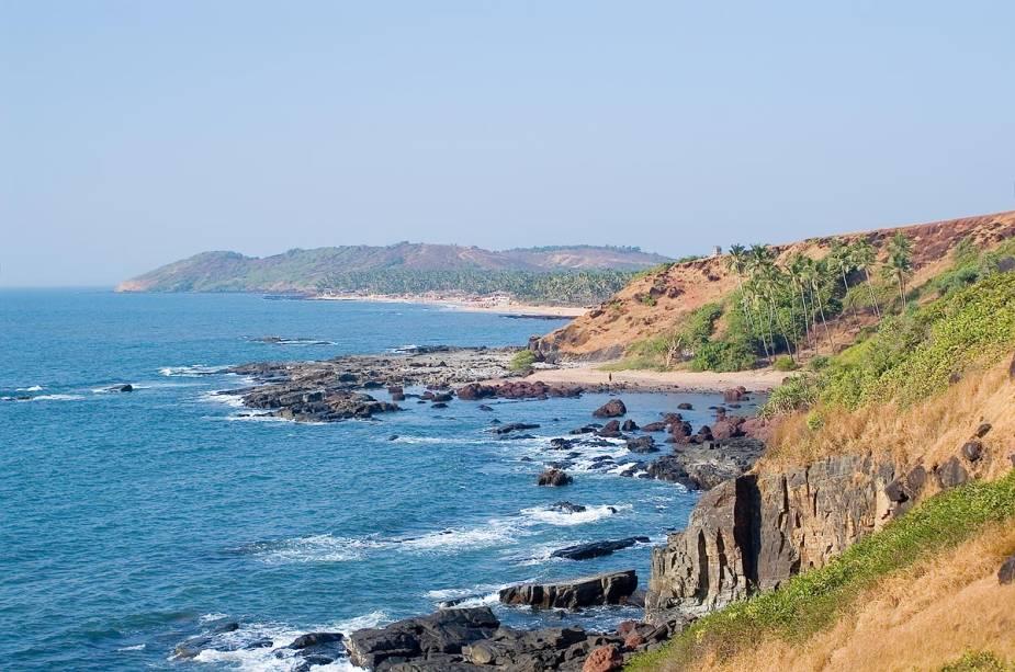 Praia de Arambol em Goa, Índia