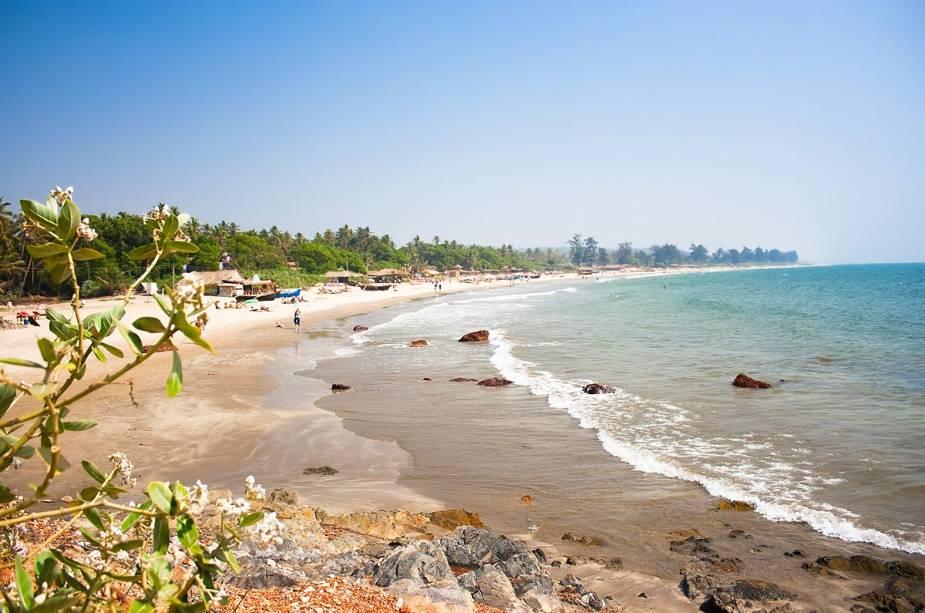 Praia de Anjuna em Goa, Índia