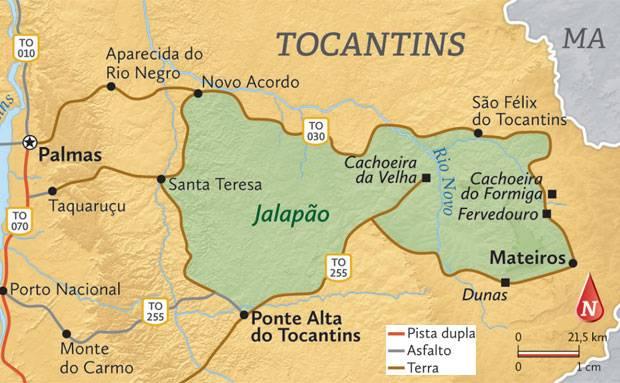 Mapa do Jalapão com os principais atrativos - todos localizados na área protegida do parque nacional