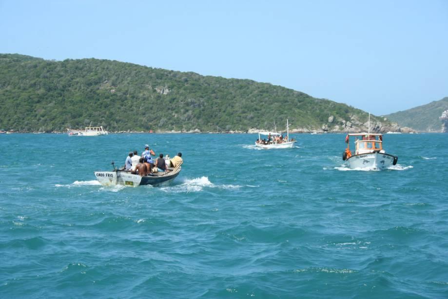 No verão, centenas de vans de entrega levam os visitantes aos bairros de Búzios e Cabo Frio em busca de passeios de barco e mergulho, os clássicos de Arraial