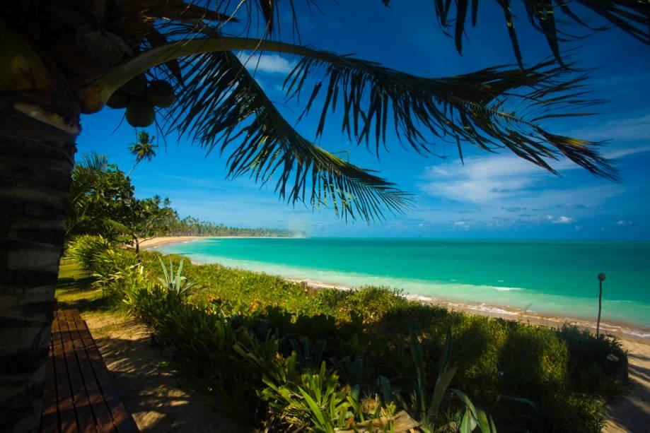 Na maré baixa, a Praia de Lage, repleta de coqueiros, é ideal para caminhadas