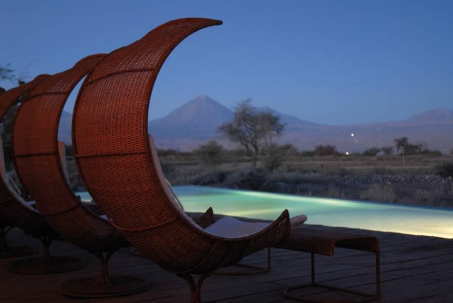 O hotel Tierra Atacama tem a melhor vista.  Os quartos e a piscina têm vista para o vulcão Licancabur