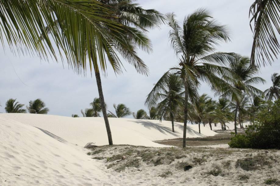 Para chegar à praia a partir da aldeia é necessário atravessar as dunas a pé ou de charrete.